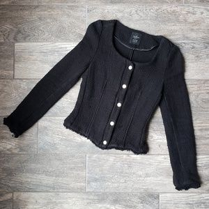 Zara Trafaluc Black Tweed Chanel Style Jacket